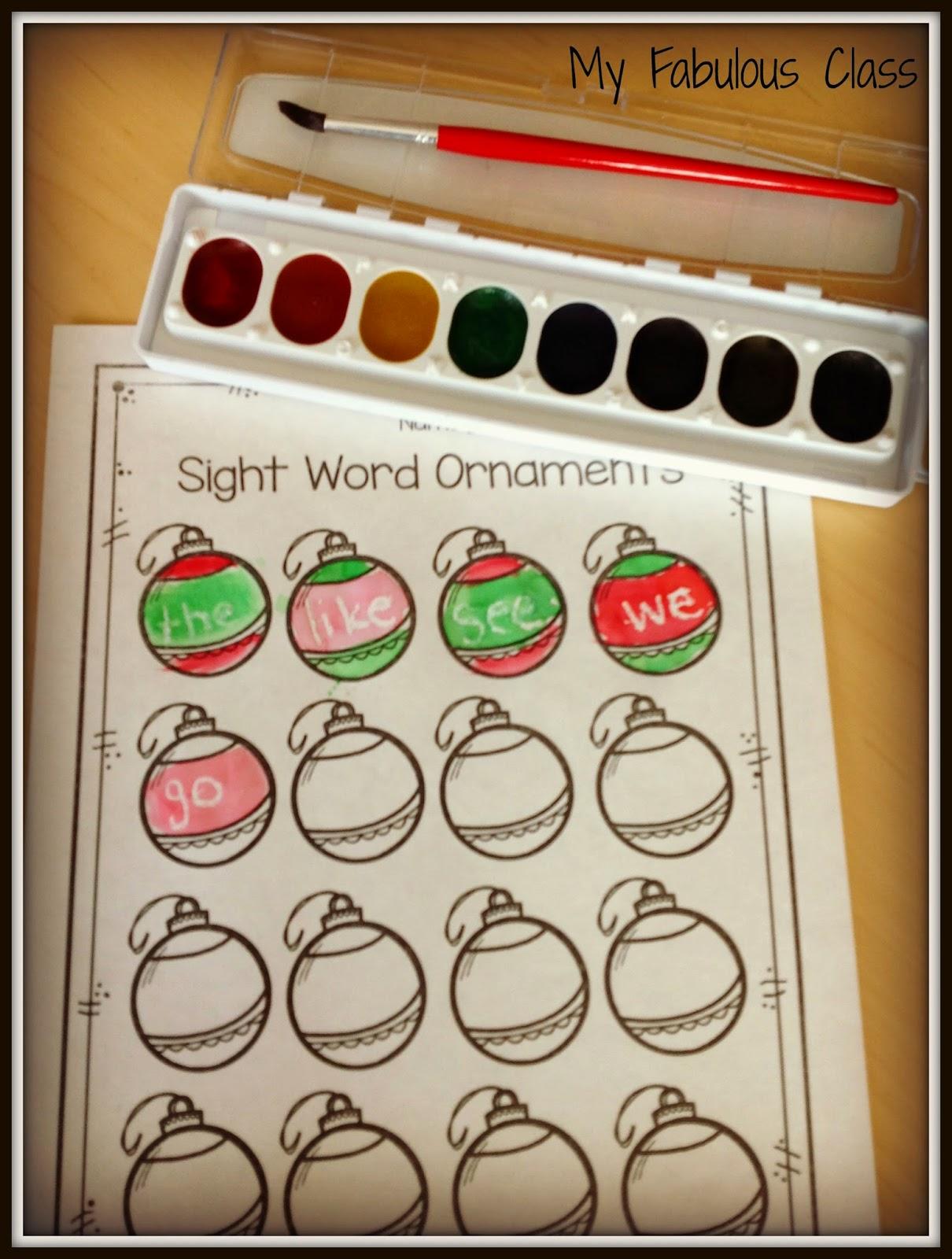 My Fabulous Class Christmas Sight Word Ideas